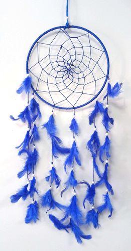 Acchiappasogni Rotondo & Piume Blu 20cm