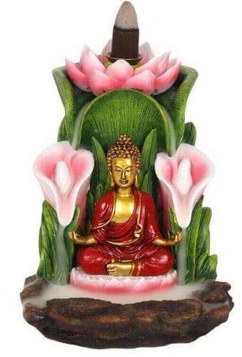 Porte-Encens Backflow Bronze Bouddha Méditation 15cm