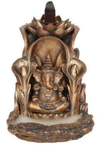 Supporto per incenso per riflusso in bronzo Ganesh 14 cm