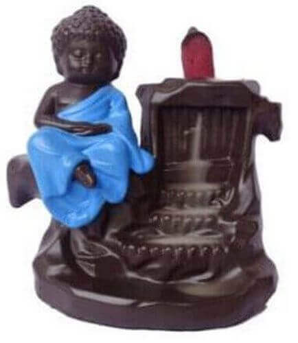 Porte-Encens Backflow Bouddha Bleu Fontaine 15cm