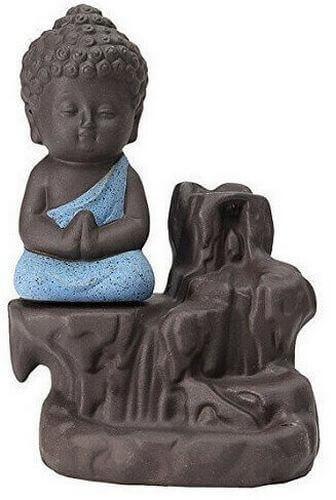 Supporto per incenso con retroilluminazione Buddha blu 13cm