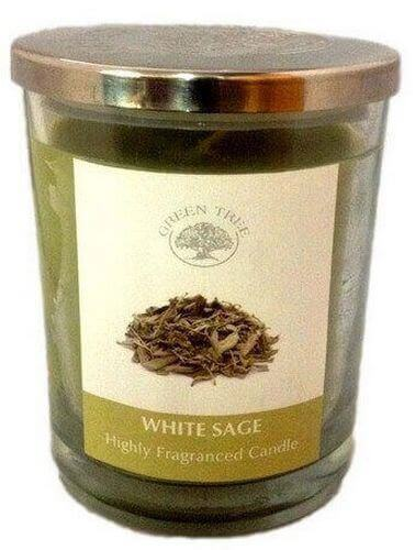 Green Tree Sage White Candle 200g