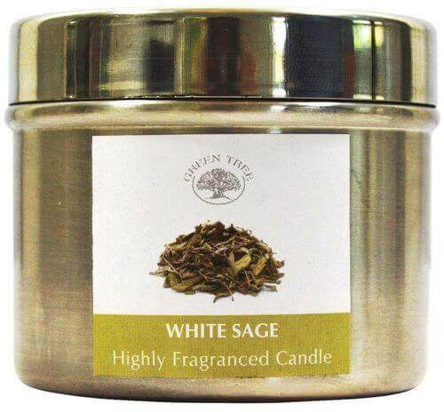 Green Tree Sage White Candle 150g