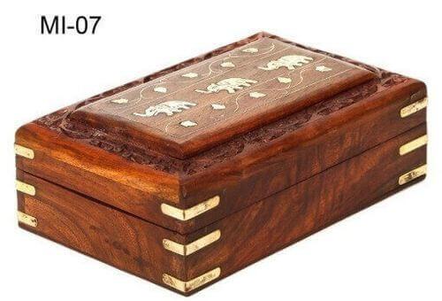 Boîte à Bijoux Bois Eléphants 18cm