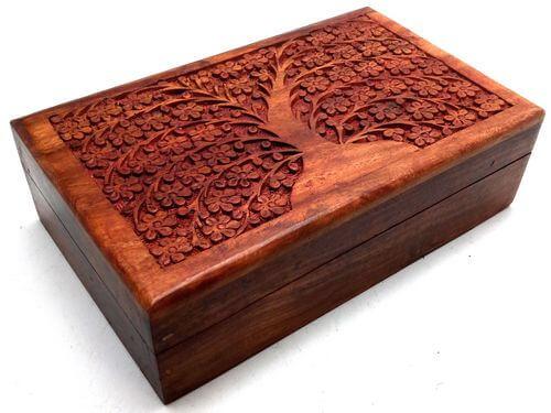 Boîte à Bijoux Bois Arbre & Feuilles 20cm