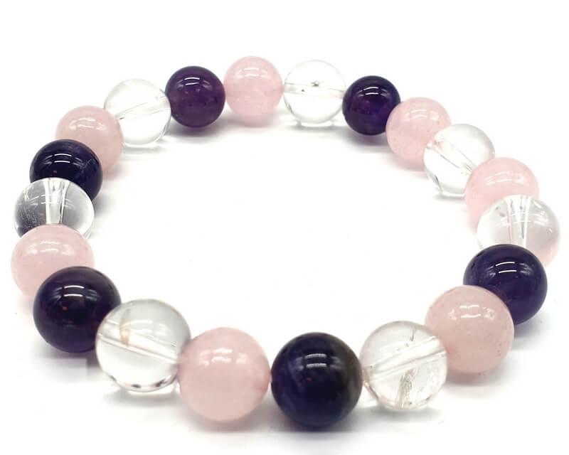 Bracciale con ametista, cristallo, perle di quarzo rosa 10mm