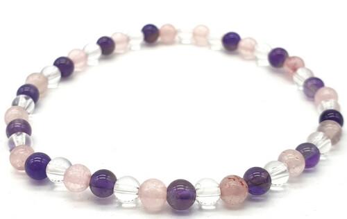 Bracciale con ametista, cristallo, perle di quarzo rosa 4mm