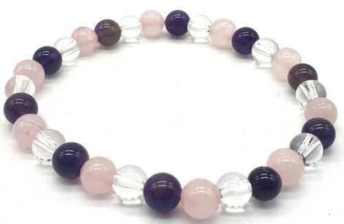 Bracciale con ametista, cristallo, perle di quarzo rosa 6mm