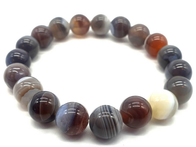 Bracelet Agate Bostwana perles 10mm