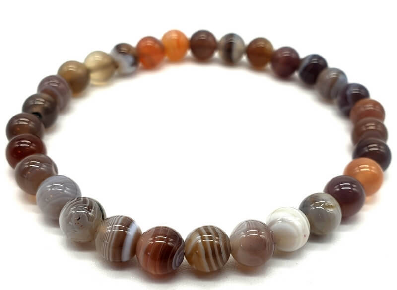 Bracelet Agate Bostwana perles 6mm