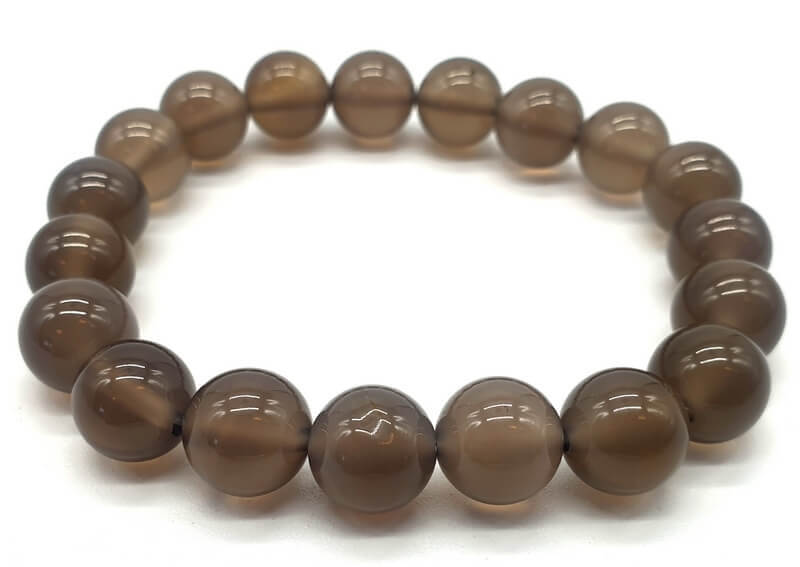 Bracciale perle di agata grigia 10mm