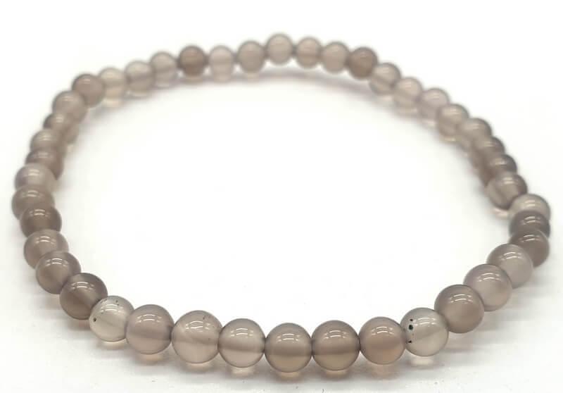 Bracciale Agata perle grigio 4mm