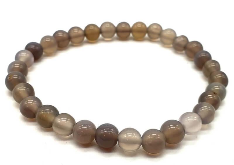 Bracelet Agate Grise perles 6mm
