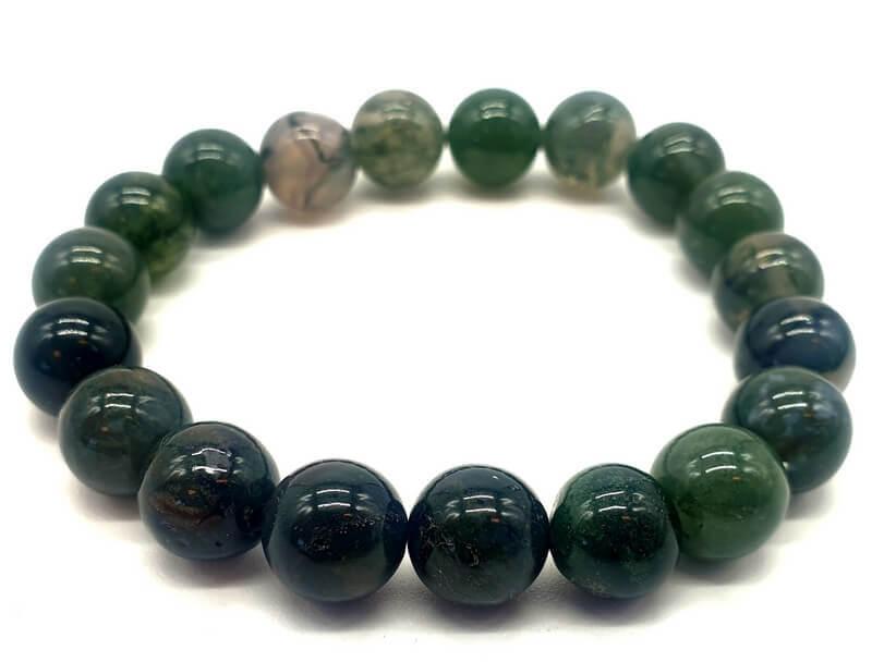 Bracelet Agate Mousse perles 10mm