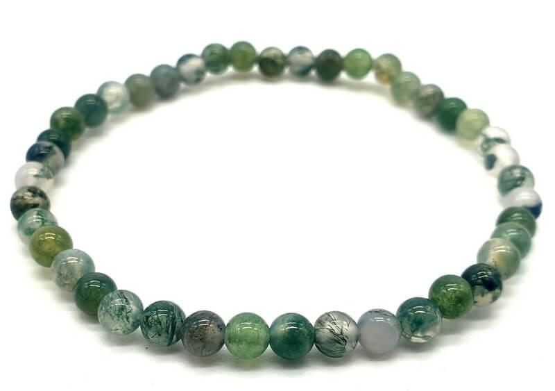 Bracelet Agate Mousse perles 4mm