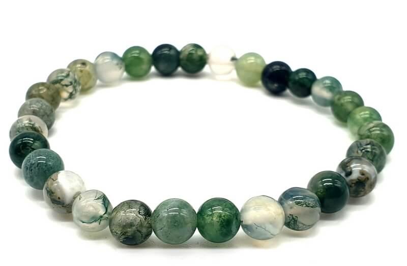 Bracelet Agate Mousse perles 6mm