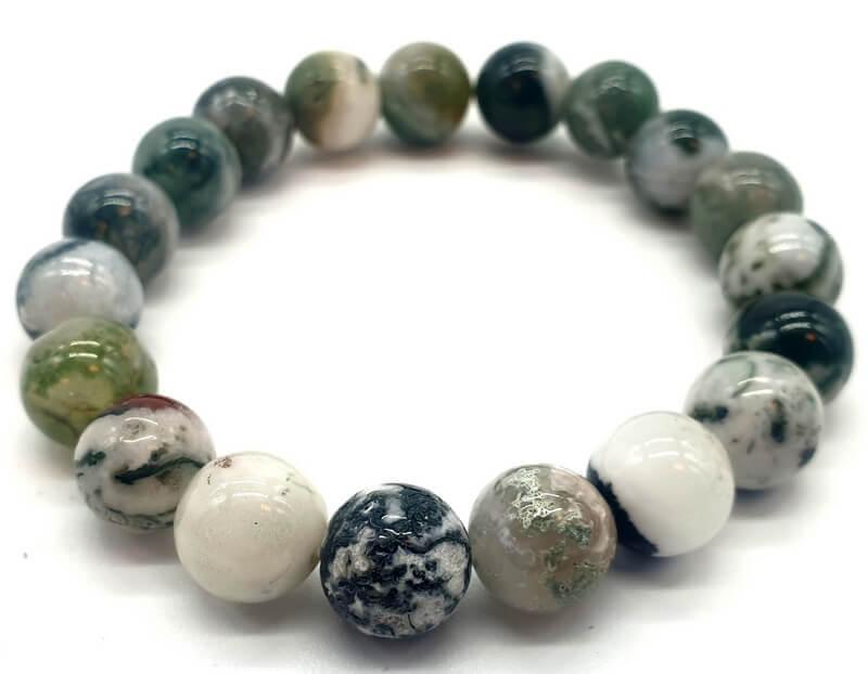 Bracelet Agate Arbre perles 10mm