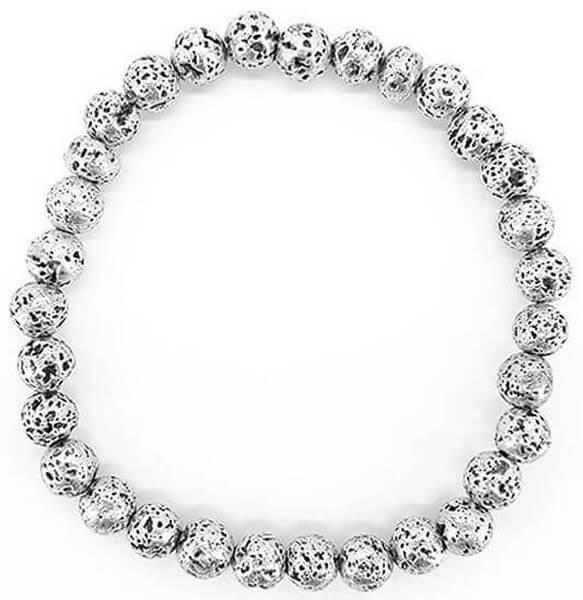 Bracelet Pierre de Lave plaqué Argent perles 6mm