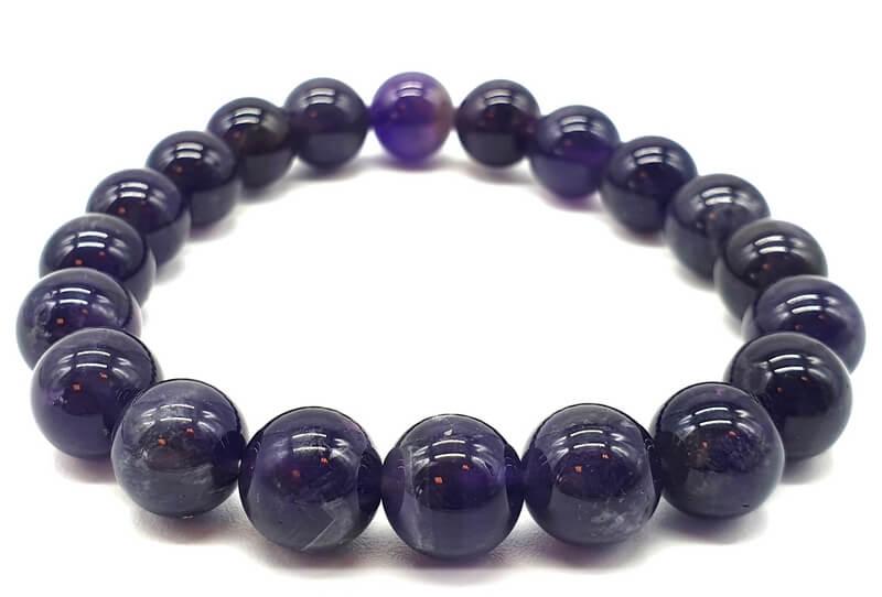 Bracelet 'Dark' Améthyste Perles 10mm