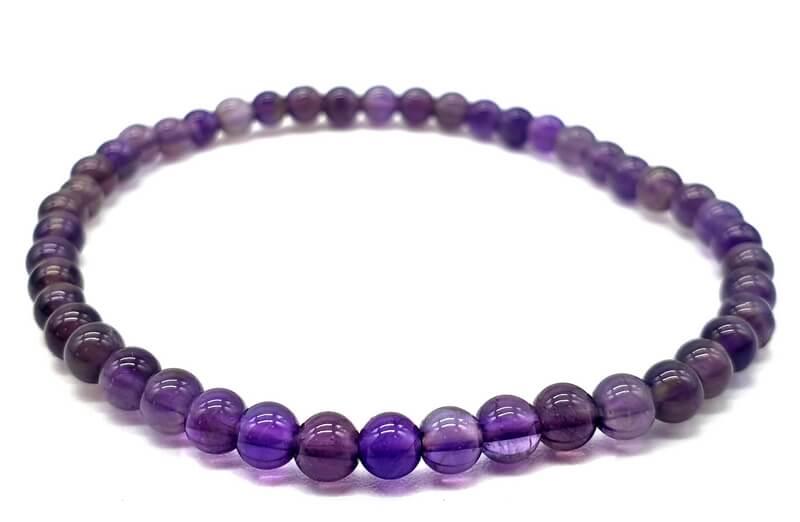 Bracciale 'Dark' con perle di ametista 4mm