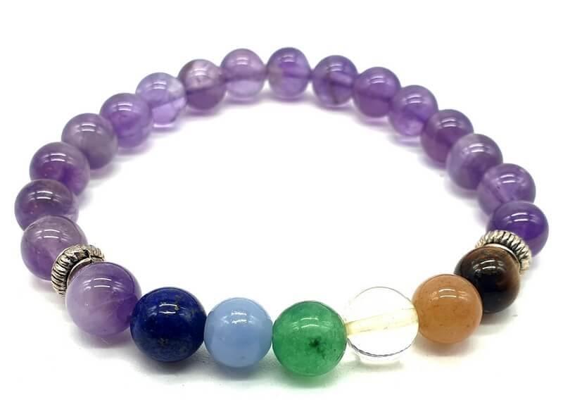 Bracelet Améthyste & 7 Chakras perles 8mm