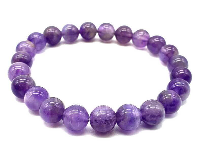 Bracelet 'Purple Light' Améthyste Perles 8mm