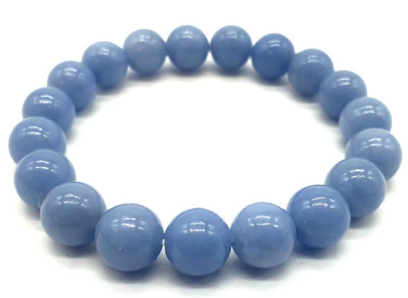 Bracelet Angélite perles 10mm