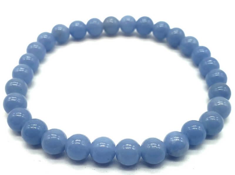 Bracelet Angélite perles 6mm