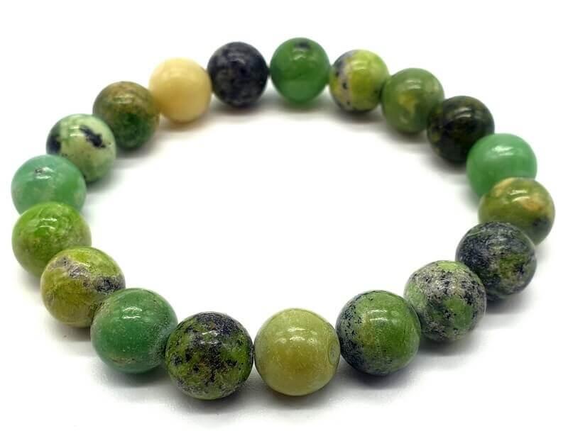 Bracelet Chrysoprase perles 10mm