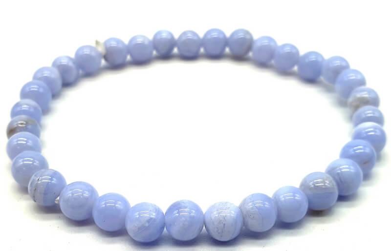 Bracelet Calcédoine Bleue perles 6mm