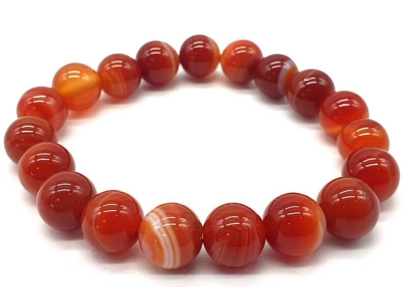 Bracelet Cornaline perles 10mm