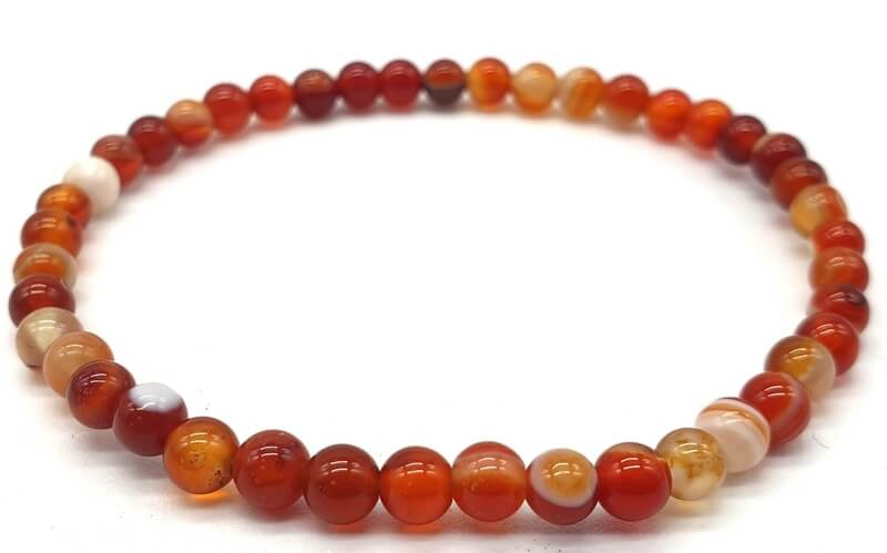 Bracelet Cornaline perles 4mm