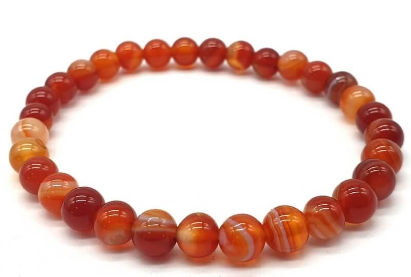 Bracelet Cornaline perles 6mm