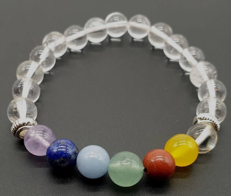 Bracciale Cristallo di Rocca & 7 Chakra perle 8mm