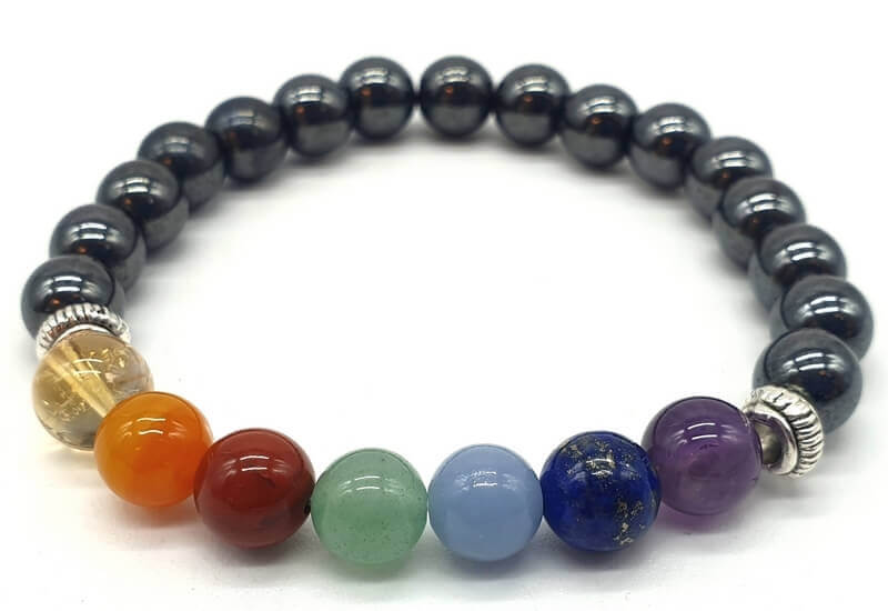 Bracelet Hematite & 7 Chakras perles 8mm