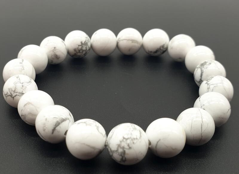 Bracciale Howlite perle bianche 10mm