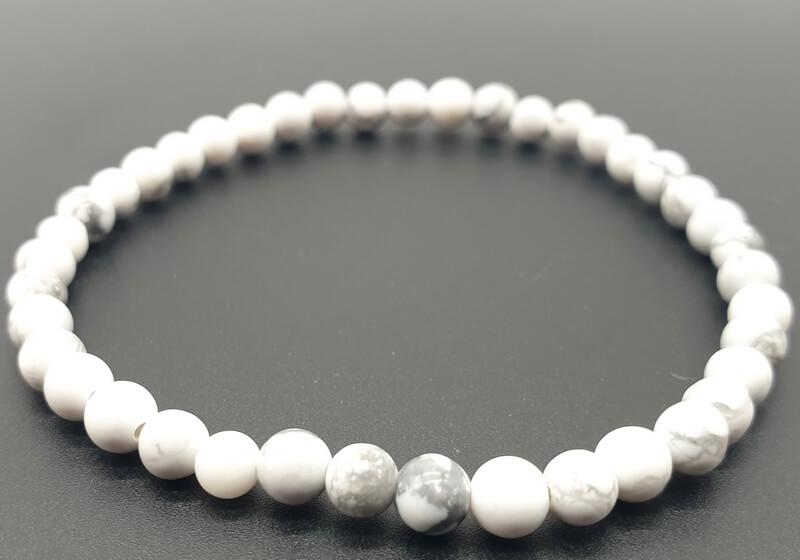 Bracciale Howlite perle bianche 4mm
