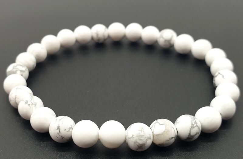 Bracelet Howlite Blanche perles 6mm