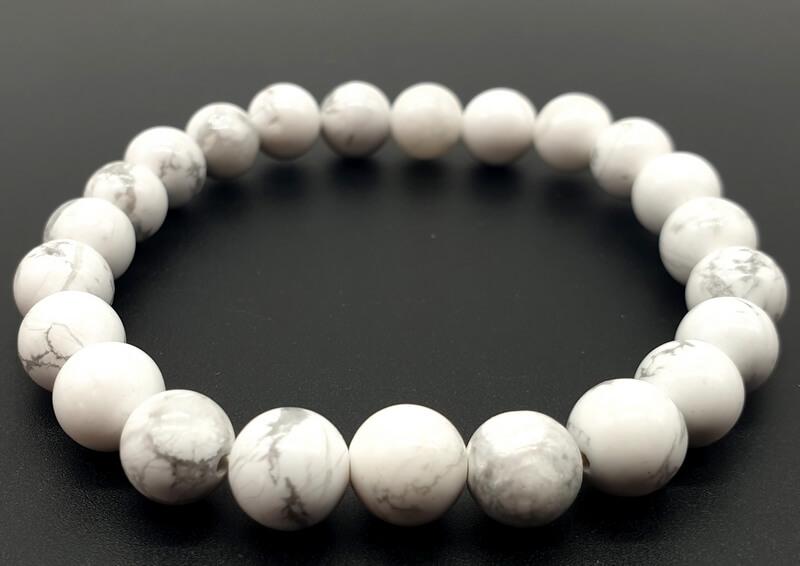 Bracelet Howlite Blanche perles 8mm