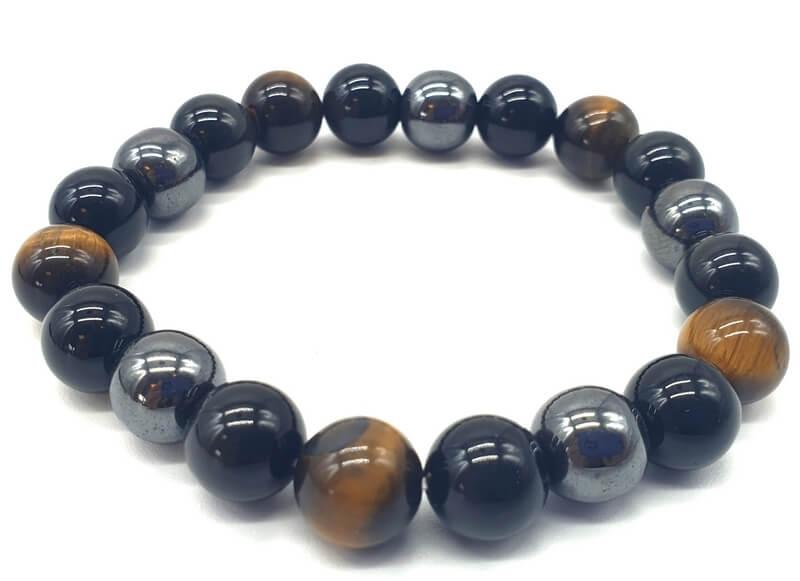 Bracelet Protection Obsidienne Noire, Hematite, Oeil de Tigre perles 10mm