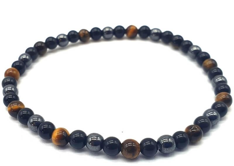 Bracelet Protection Obsidienne Noire, Hematite, Oeil de Tigre perles 4mm