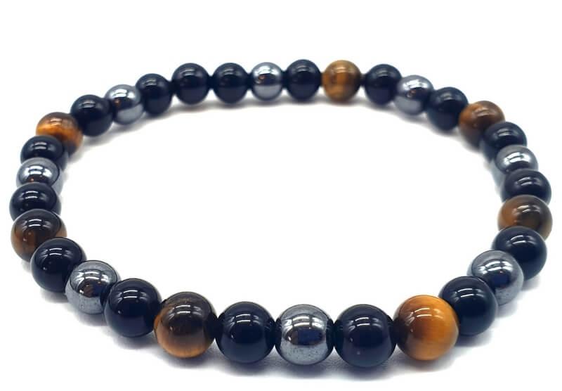 Bracelet Protection Obsidienne Noire, Hematite, Oeil de Tigre perles 6mm