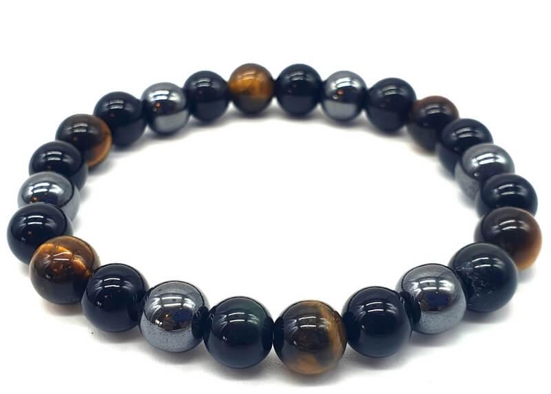 Bracelet Protection Obsidienne Noire, Hematite, Oeil de Tigre perles 8mm