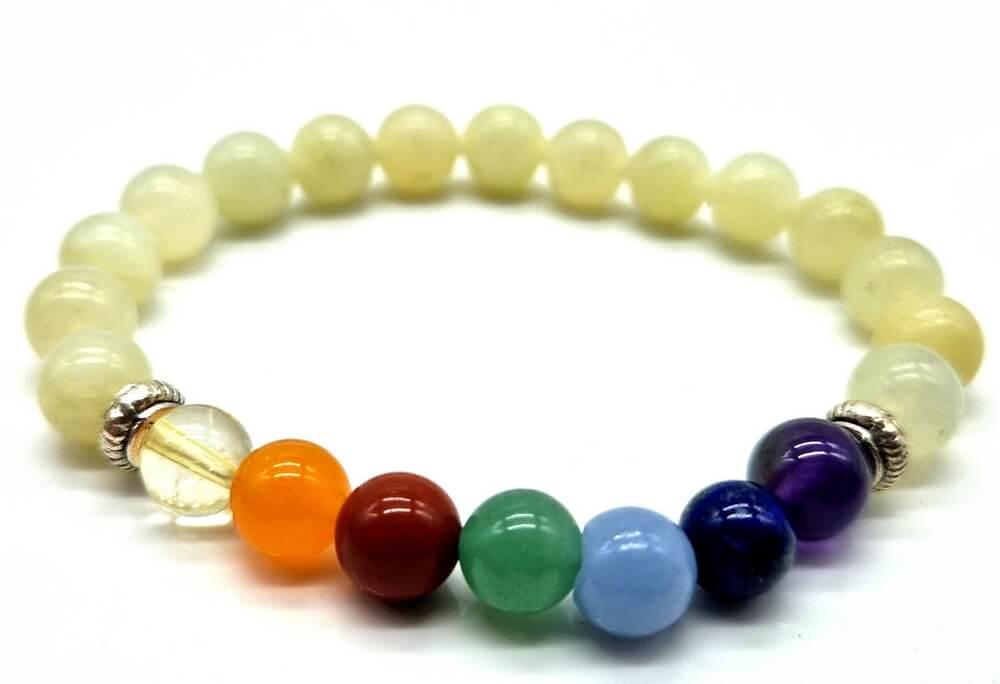 Bracciale Giada Verde & 7 Chakra perle 8mm