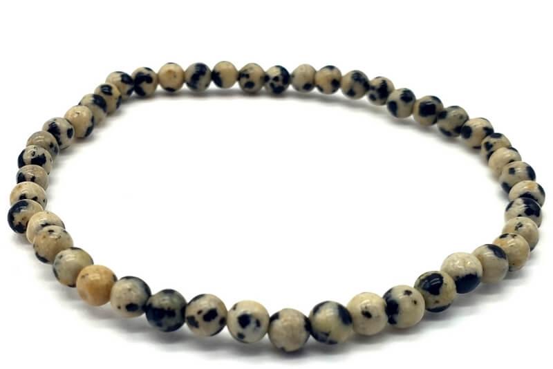 Bracelet Jaspe Dalmatien perles 4mm