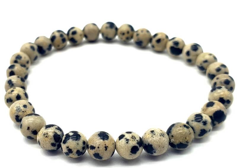Bracelet Jaspe Dalmatien perles 6mm