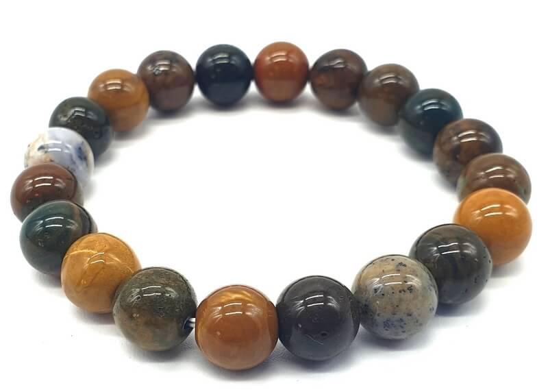 Bracelet Jaspe Océan perles 10mm