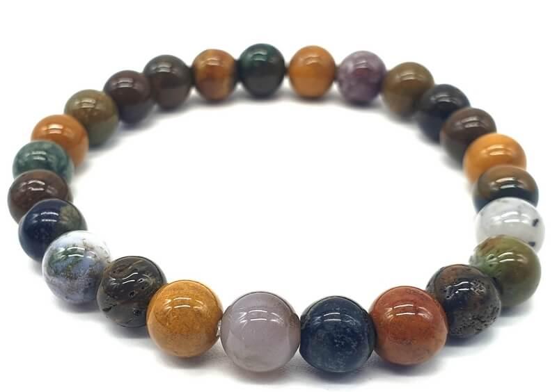 Bracelet Jaspe Océan perles 8mm