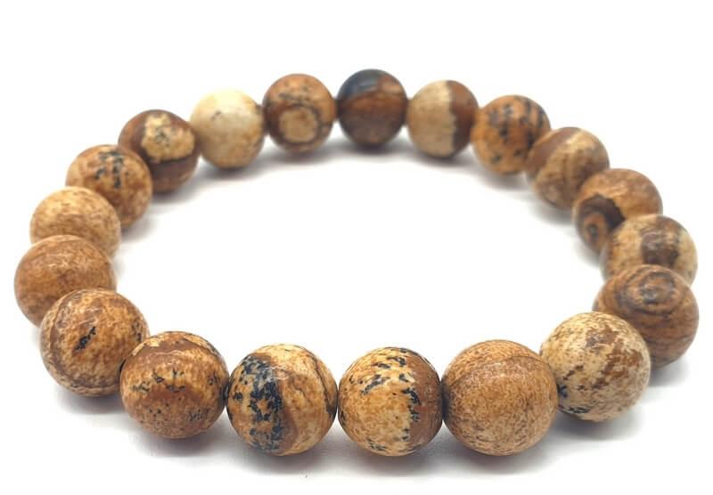 Bracelet Jaspe Paysage perles 10mm