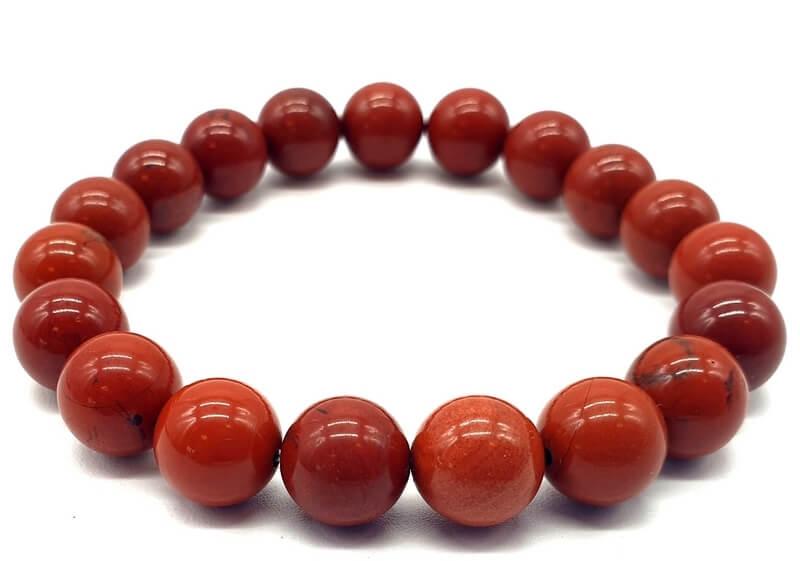 Bracelet Jaspe Rouge perles 10mm